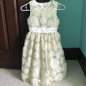 American Princess Ivory and Gold Sequin Dress